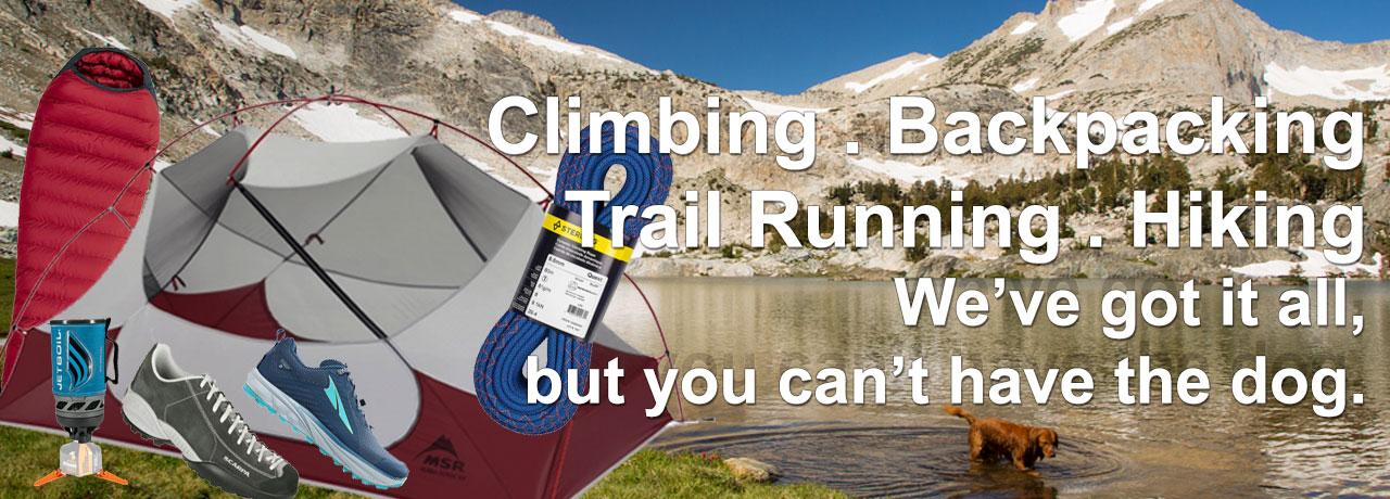 Climbing, Backpacking, Trail Running, Hiking