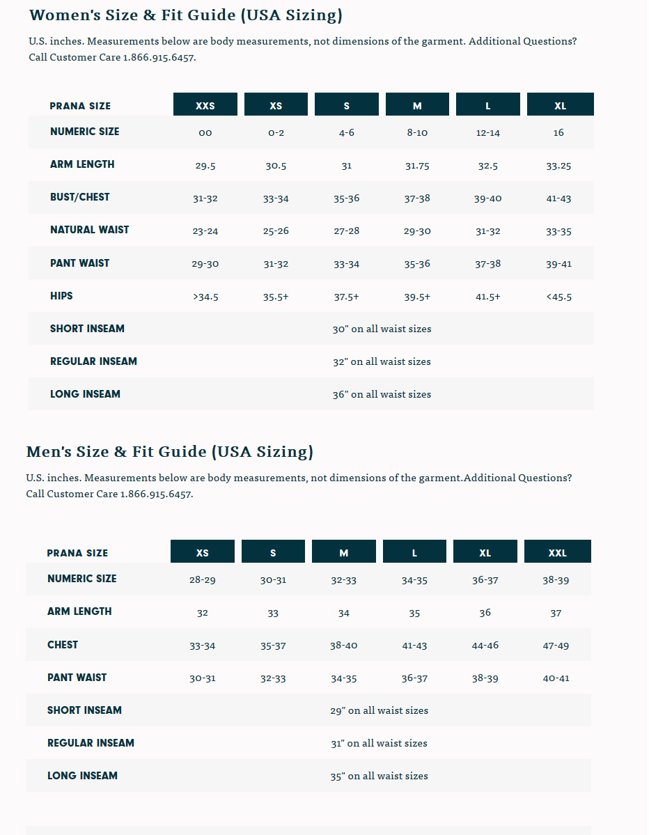 prana size chart