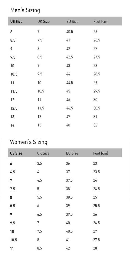 Forsake Footwear Size Chart