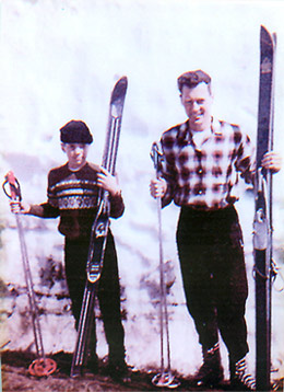 Herb and his father ready to hit the slopes, in 1960.