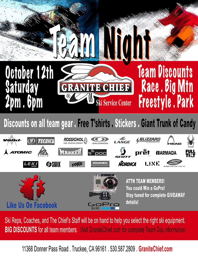 TEAM NIGHT...Discounts for Ski Team Members: Race, Big Mtn, Freestyle, and Park
