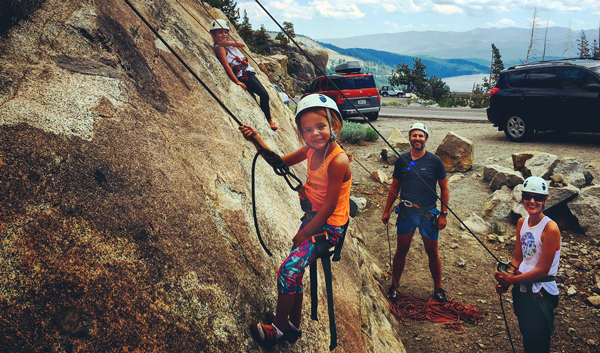 Climbing School Rock, Donner Summit. A family getting started.
